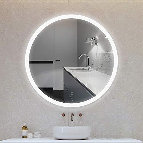 POPSPARK - Espejo para Maquillaje, baño de Espejo Redondo con iluminación LED, diseño de Espejo con Interruptor táctil, antiniebla, para baño