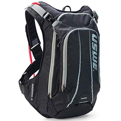 USWE 2151915 Airborne 15L Bounce Free Hydration Backpack with 3L Hydration System, Unisex, Black/Grey