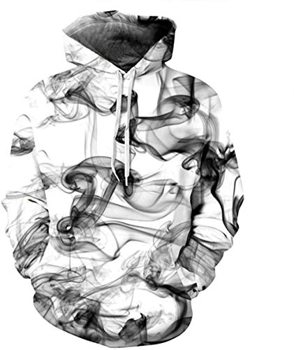 Htekgme Unisex 3D Druck Hoodie Kapuzenpullover Langarm Sweatshirt Kapuzenjacke Kangaroo Pocket Fun-Kapuzenpullover-T7 Schwarzer Rauch-M