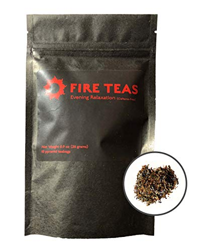 FIRE TEAS - Evening Relaxation - Anxiety Relief Tea - Peppermint, Rooibos, Lavender, Raspberry Leaf, Ginger, Saffron - Caffeine Free - Herbal - Each Teabag Brewable 3 Times - Stress Relief & Cleansing - Made in WA