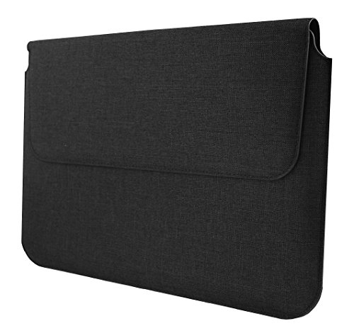 Emartbuy Universal 13.3-14.0 Inch Dark Grey Premium Textured Fabric Magnetic Folio Wallet Case Cover Sleeve Compatible with Devices Listed Below