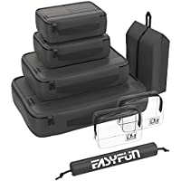 Set of 8 Easyfun Packing Cubes for Suitcases Travel Cube Luggage Organizers with 2 Toiletry Bags & Shoe Bags