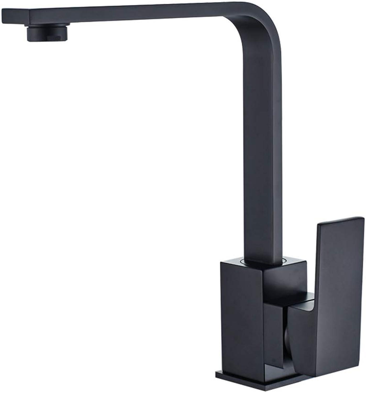 ABYYLH Sink Taps For Kitchen Modern Single Lever Chrome Brass Swivel Spout Basin Mixer Tap Faucet,Black