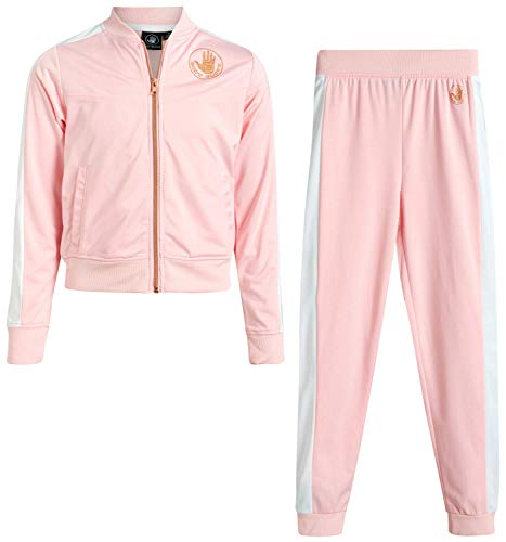 Body Glove Girls' Tricot Jog Set - Full Zip Warm-Up Jacket and Jogger Sweatpants Tracksuit Set, Light Pink/Gold, Size 8