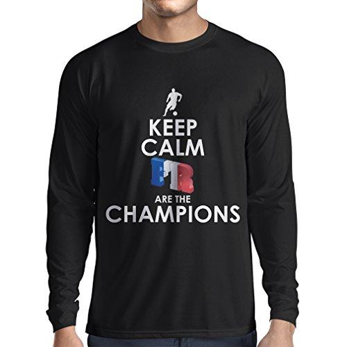 Camiseta de Manga Larga para Hombre Los franceses Son los campeones: Campeonato de Rusia 2018, Equipo de fútbol de la Copa del Mundo, Camiseta de la afición de Francia (Large Negro Multicolor)