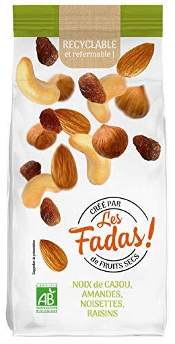 Les FADAS de Fruits Secs Noix de Cajou Amandes Noisettes Raisins Bio, 145 g