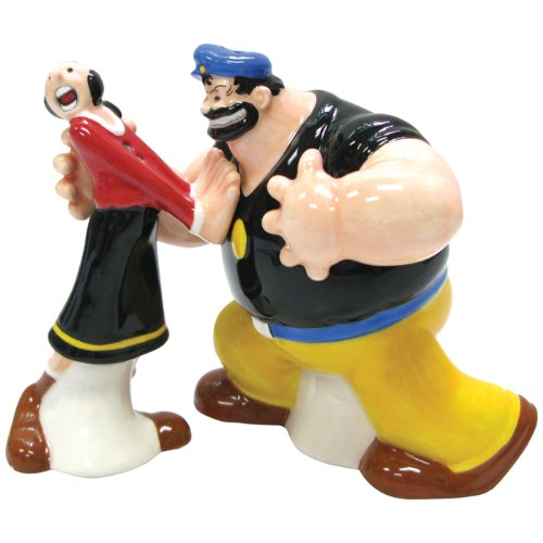 Popeye Magnetic Olive Oyl and Brutus Salt and Pepper Shaker Set
