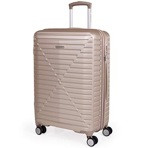 London Fog ABS Hard Shell 26 Inch Suitcase - Travel Luggage with 8 Spinner Wheels | TSA Security Locks | Pull, Drag Handle 3.6kg 64.7L LFL005 (Medium, Champagne)