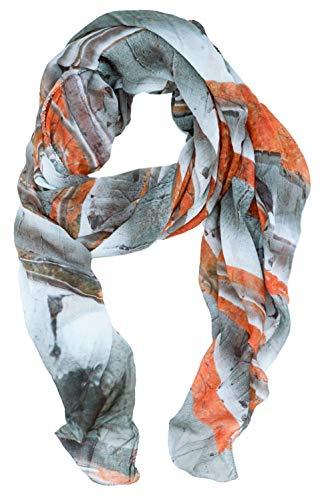 RobeCode Damen Designer Tuch IntoTheWoods - bedrucktes Oversize-Tuch mit Birken Wald Motiv, riesiger XXL Sommer Schal rot weiß orange aus Voile Gewebe angenehm weich
