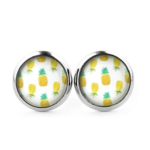 SCHMUCKZUCKER Damen Mädchen Ohrstecker Motiv Ananas-Muster Edelstahl Ohrringe Silber Gelb Grün Weiß 12mm