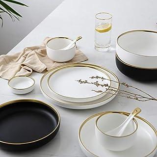 Blanc et Noir Rond d'or Stroke dîner en céramique microplaques Arts de la Table Steak Porcelaine Riz Bol à Soupe Cuillère ...