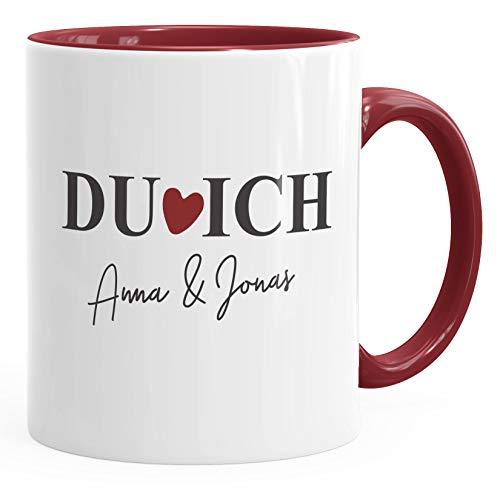 SpecialMe® personalisierte Kaffee-Tasse Du Ich mit Namen Herz Liebes-Geschenk Freundin Mann Geschenk-Tasse inner-bordeaux Keramik-Tasse