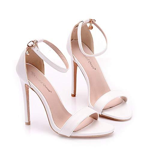 Tacones de mujer, zapatos con hebilla blanca de 11 cm stiletto boca de pez sandalias romanas, zapatos de novia, zapatos de fiesta sexy
