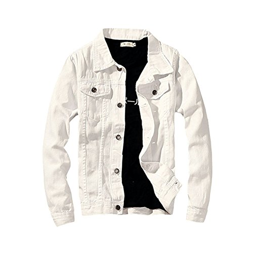 LifeHe Classic Denim Jacket Men Slim Fit Fashion Jeans Coat (L, White)