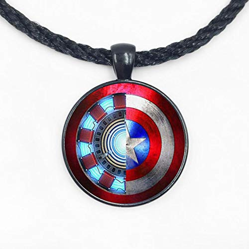 Glass Dome Pendant 1pcs Iron Man Captain America Necklace Glass Cabochon Necklace.