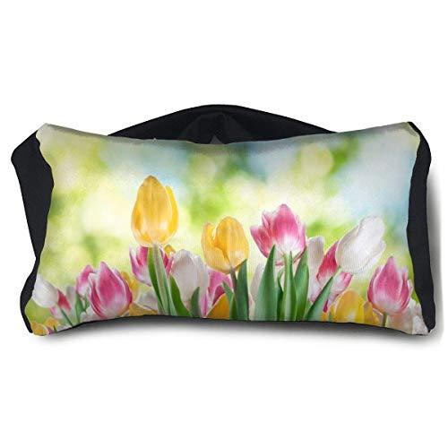 Oreiller multi-usages pour les yeux et le cou Tulipes in the Morning Ultra doux 2 en 1 Masque pour les yeux gratuit Voyage Oreillers pour homme, femme et enfant