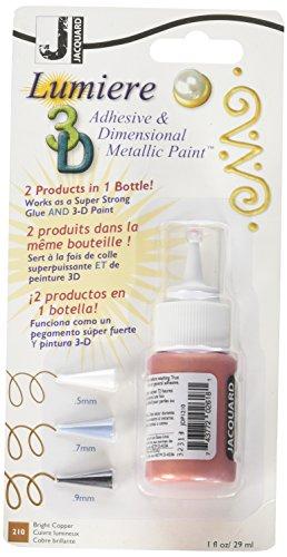 Jacquard JDP0210 Lumière Peinture 3D adhésive et dimensionnelle Lavable, bouteille de 1 oz, 1,5\