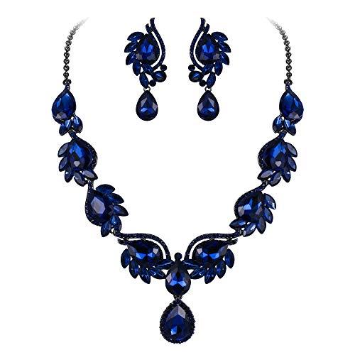 Ever Faith Women's Crystal Wedding Floral Leaf Teardrop Necklace Clip On Earrings Set Navy Blue Black-Tone
