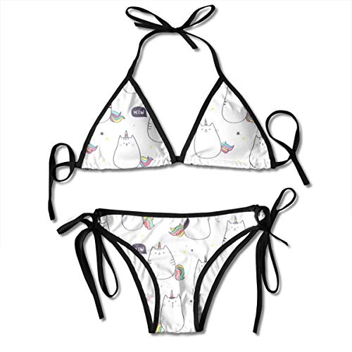 Bikini Pattern with Cute Unicorn Cat Or Caticorn Funny Doodle Cats with Unico Bikini Set Two Piece,Triangle Padded Cut Out Swimsuit for Ladies Swimming Costume
