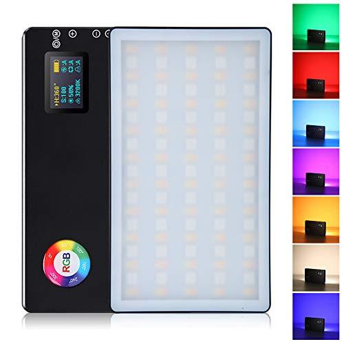 RGB LED Videoleuchte,360° Volle Farbe 3200K-7500K Dimmbare Videolicht, Eingebaut Akku CRI 96+ 9 Gängige Lichteffekte Gehäuse aus Aluminiumlegierung für Video-Selfie-Live-Porträtfotografie