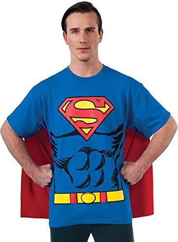 DC Comics Superman Costume T-Shirt With Cape, Blue, Large
