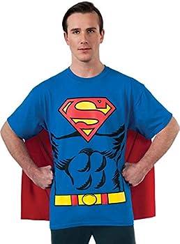 DC Comics Superman Costume T-Shirt With Cape Blue X-Large