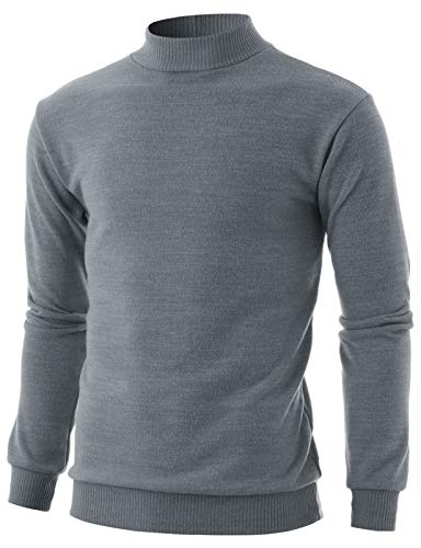 GIVON Mens Slim Fit Long Sleeve Mock Neck Ribbed Hem oft Cotton Blend Pullover Sweater/DCP224-GREY-M