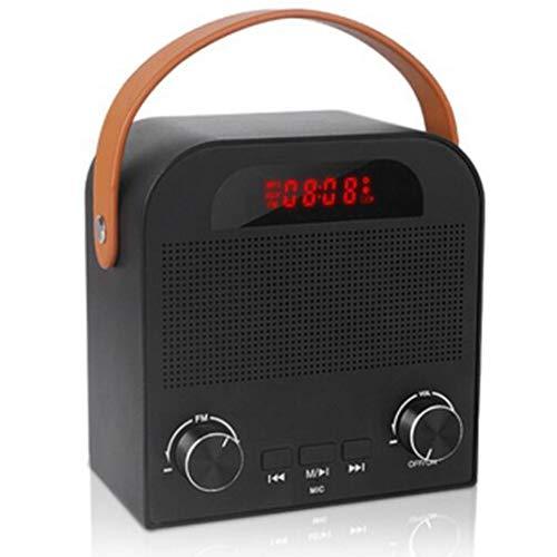 FENGCLOCK Altavoz Bluetooth Inalámbrico De Alarma Al Aire Libre del Reloj, La Voz Inteligente De Radio FM Pronta Reloj Despertador Digital De Radio Portátil, Reloj De Mesa con Manos Libres,Negro