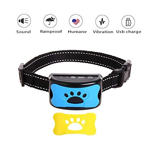 Kuoser Anti-Bell-Hundehalsband, aktualisiert, wasserdichtes Gerät mit Anti-Schock-Maulkorb, sicheres, harmloses und menschliches Training mit Sound und Vibration für kleine und mittelgroße Rassen