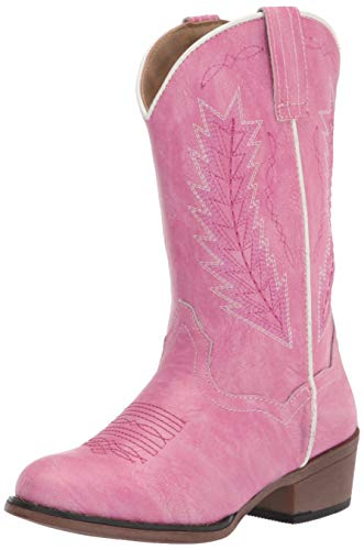 Roper 9In Girls Kids Pink Faux Leather Riley Cowboy Boots 10