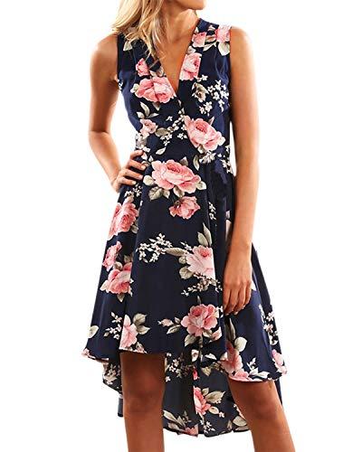 YOINS Damen Sommerkleid Lang V-Ausschnitt Maxikleider Strandkleid Strandmode, V-dunkelblau, Gr.- EU 40-42/ Herstellergröße- M
