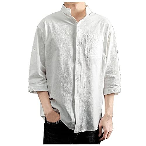Zilosconcy T-Shirts Hombre Media manga Lino Fashion Camisa holgado con Bolsillo en el Pecho Camiseta Color sólido Tallas Grandes Barata Estilo Casual