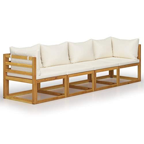 vidaXL Sofá de jardín de madera de acacia maciza, de 4 plazas, con cojines, color crema