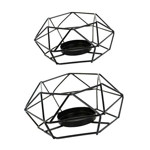 B Blesiya 2er-Set Nordischer Draht Kerzenhalter Kerzenständer Teelichthalter Hochzeitsdekoration