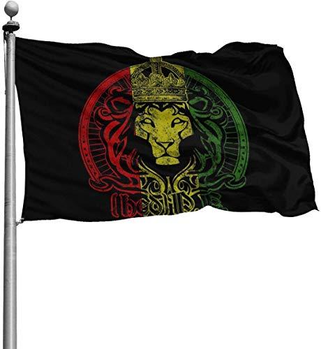 N/A American Guard Flaggenbanner Home Flaggen Afrikanische Flagge Der Löwe von Judah Rasta Rastafari Frühling Vertikaler Yard für saisonale Terrasse Rasen Dekoration 4x182 m