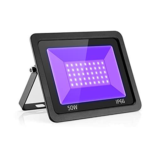 UV Schwarzlicht LED Flutlicht,Eleganted 50W UV Fluter, Wasserdicht IP66 UV Strahler Ultraviolett Lichteffekt mit ON/OFF Schalter für Party,DJ,Bühne,Körperfarbe,Halloween Beleuchtung