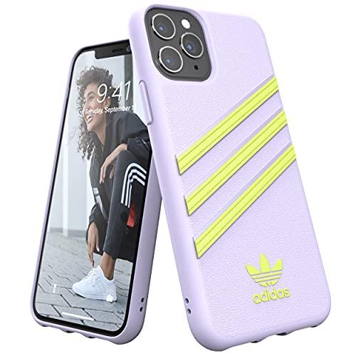 adidas Funda para iPhone 11 Pro, diseño Original de Tres Rayas, Color Blanco y Amarillo