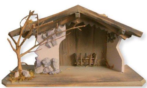Stable, nativity stable, B 37cm, T 15cm, H 20cm by Zisaline