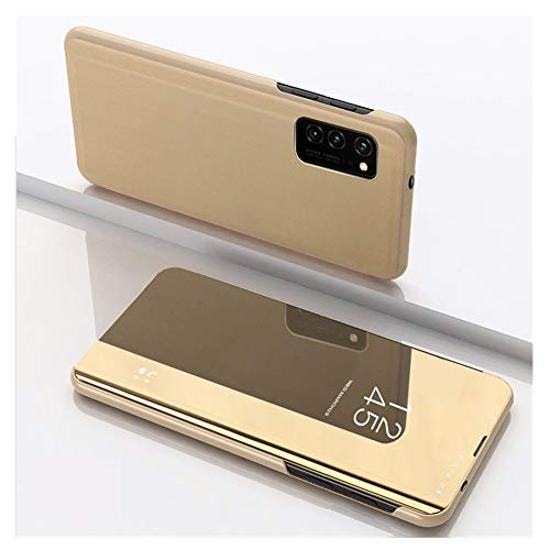 Galaxy S11 Plus hoes Galaxy S11 spiegel beschermhoes S11E flip lederen tas Mirror Case Stand functie mobiele telefoon bescherming lederen hoes schokbestendig hoezen voor make-up spiegel Samsung Galaxy S11 goud