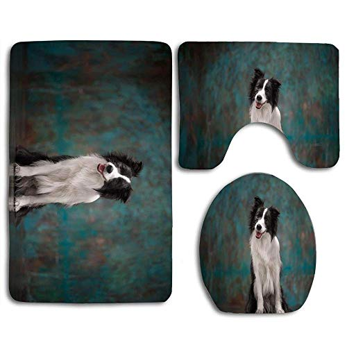 Not Applicable Adorable Border Collie Dog Bathroom Rug Mat Set of 3pcs,Anti-Skid Toilet Seat Cover Bath Mat Lid Cover