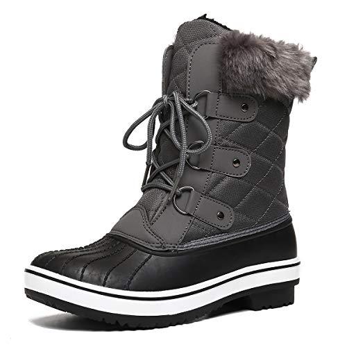 gracosy Schneestiefel Damen Wasserdicht Gefütterte Winterschuhe rutschfeste Warm Winterstiefel Schnee Stiefel Nylon Short Schnee Pelz Regen Stiefel (Größe Schmal)
