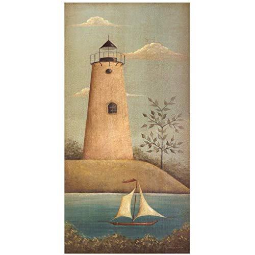 Pintura de impresión mural Imagen HD Torre de reloj Barco Decoración para el hogar Paisaje Arte de la pared Cartel de lienzo en HD para fondo de cabecera-28X56In Sin marco