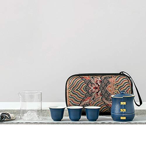 ZQJKL Portable Travel Tea Set Ceramic Teapots with 3 Tea Cups Tea Bag Handmade Porcelain Kung Fu Tea Set Suitable for Travel Home Outdoor and Office,Blue