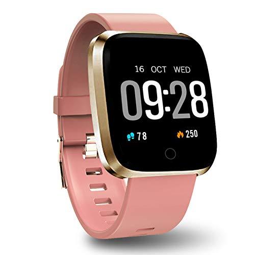 Polywell Fitness Armbanduhr mit Herzfrequenz, Fitness Tracker, Bluetooth Sportuhr Aktivitätstracker Schrittzähler, Schlaf Monitor, Kalorienzähler … (Leichte Koralle)