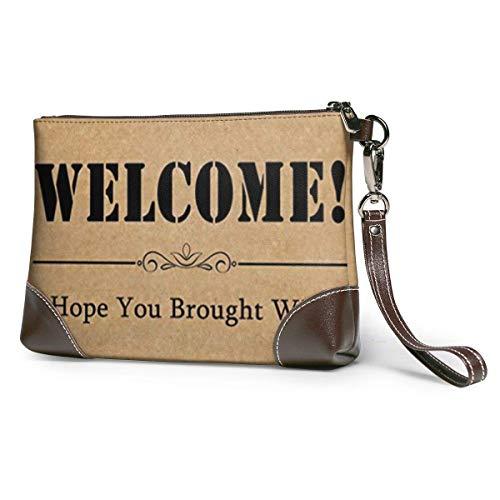 GLGFashion Carteras de cuero para mujer Welcome! I Hope You Brought Wine Women's Travel Leather Wristlet Clutch Purses Makeup Cosmetic Case Portable Storage Bag Wallet Handbag For Women Girls