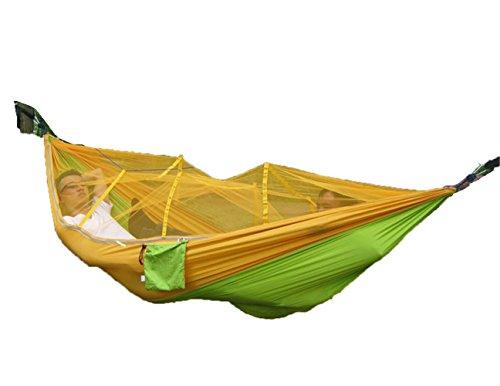 Hamac 2 Personnes Portable Haute Résistance Hamac à Suspendre Ultra-léger Durable Hamac de Voyage Camping avec Moustiquaire Charge 200 kg