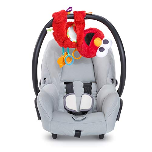 Bright Starts Sesame Street Elmo Travel Buddy On-The-Go Plush Take-Along Toy, Ages 0-12 Months