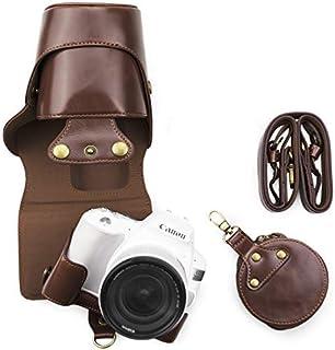 kinokoo Canon EOS 200D/EOS KISS X9 / EOS KISS X10専用カメラケース カメラバッグ 18-55 mm レンズ 対応 バッテリーの交換でき 三脚ネジ穴付き PUレザー 全面保護型 ショルダーストラップ...