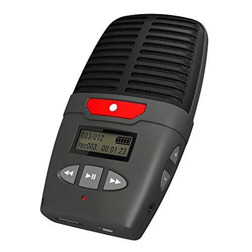 Talking Products Micro Speak Digital Voice Recorder, 8 GB Speicher, wiederaufladbares tragbares Diktiergerät mit eingebautem Mikrofon, Lautsprecher und USB, 96 Stunden Aufnahmezeit – Grau