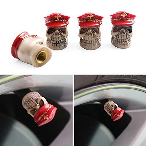 Fesjoy Tapas de válvula de neumático, tapas de válvula de aleación de aluminio, tapas rojas para válvula de neumático, tapas antipolvo para coche, motocicleta, bicicleta y bicicleta, paquete de 4